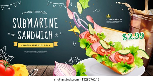 Submarine sandwich ads with flying fresh ingredients on blackboard background, 3d illustration