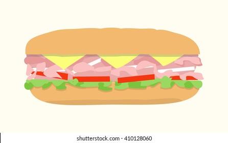 Submarine sandwich, hoagie, sub, hero. Vector illustration of fast food