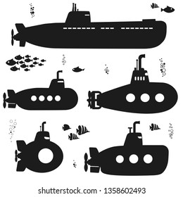 Submarine set black silhouette, undersea vehicle with fishes, funny underwater boat with periscope. Flat design. Vector