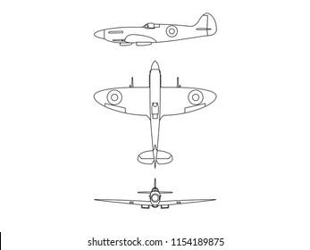 Submarine spitfire line illustration vector