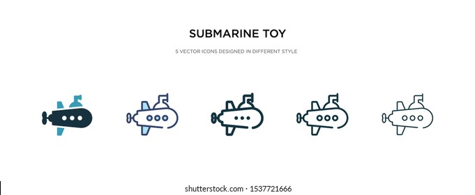 submarine toy icon in different style vector illustration. two colored and black submarine toy vector icons designed in filled, outline, line and stroke style can be used for web, mobile, ui