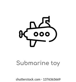 submarine toy vector line icon. Simple element illustration. submarine toy outline icon from toys concept. Can be used for web and mobile