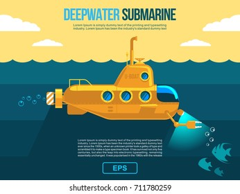 Submarine under water vector flat illustration, banner. poster or flyer cover/ Also as template cartoon move motion design