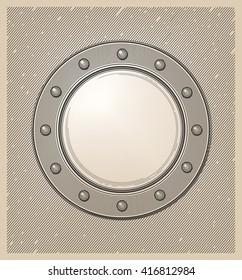 Submarine window or porthole in engraving style