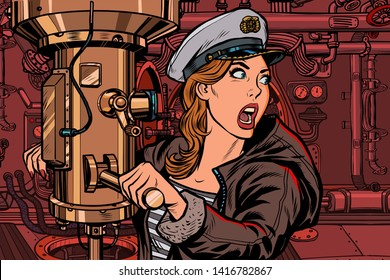 submarine a woman captain, battle alert. Pop art retro vector illustration vintage kitsch
