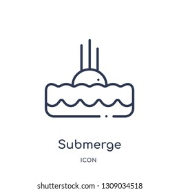 submerge icon from science outline collection. Thin line submerge icon isolated on white background.