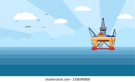 The submersible drilling rig for producing petroleum in deep water oil and gas industry.
