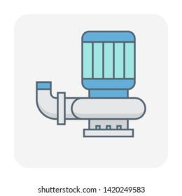 Submersible or vertical water pump icon design.