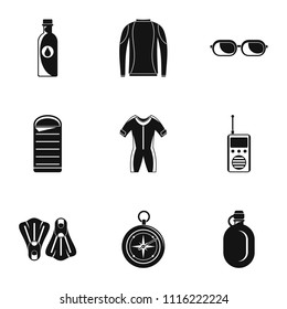Submersion icons set. Simple set of 9 submersion vector icons for web isolated on white background