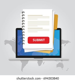 submit document online via laptop with red button via internet upload application form resume white paper