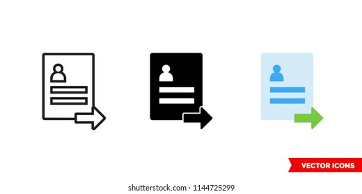 Submit resume icon of 3 types: color, black and white, outline. Isolated vector sign symbol.