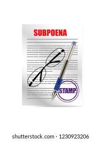 Subpoena on white background
