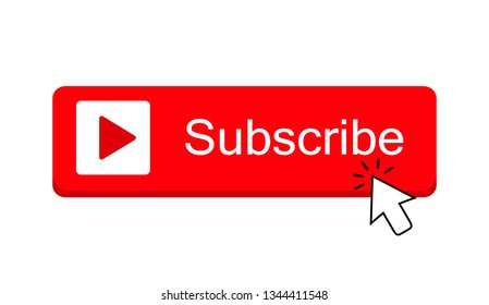 Subscribe button color with arrow cursor and shadow. Vector illustration