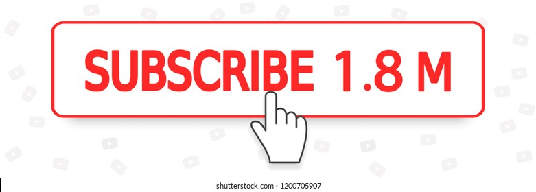 Subscribe button and hand cursor. Subscribe chanel, web, ui. Vector illustration. EPS 10