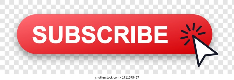 Subscribe button with pointer clicking. Vector illustration. Subscribe vector web button