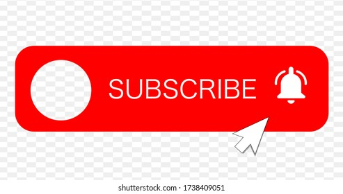 SUBSCRIBE - button red color with handon transparent background. Vector illustration.