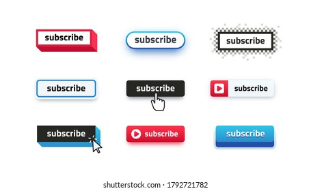Subscribe buttons. Video channel interacting UI element with different design template, subscription logo design. Vector illustration online education subscriber and social media icon subscribing
