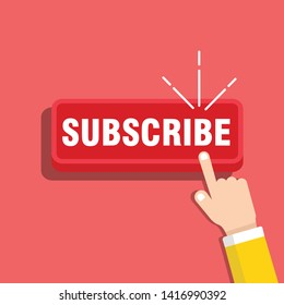 SUBSCRIBE channel, button color and hand cursor with shadow. Web element - Vector
