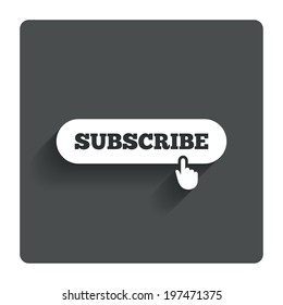Subscribe with hand pointer sign icon. Membership symbol. Website navigation. Gray flat button with shadow. Modern UI website navigation. Vector