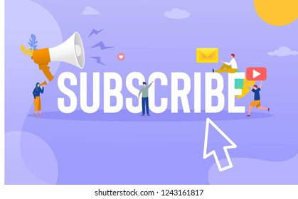 Subscribe icon buttopn vector illustration concept, people subscribe with smartphone, can use for, landing page, template, ui, web, mobile app, poster, banner, flyer