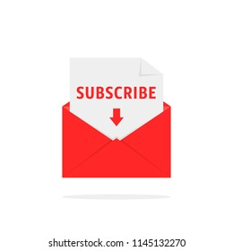 subscribe newsletter with red letter. flat simple trend modern registrer logotype graphic signup design isolated on white. concept of create profile in social or mass media like easy website service