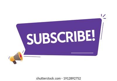 Subscribe notice text in bubble speech announcement vector illustration flat cartoon, megaphone loudspeaker notification advertising idea