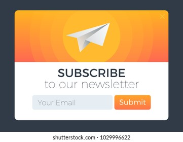 Subscribe Now For Our Newsletter. Flat Style Vector Illustration UI UX Design with Text Box and Subscribe Button Template. Modern gradient color and paper plane metaphor.