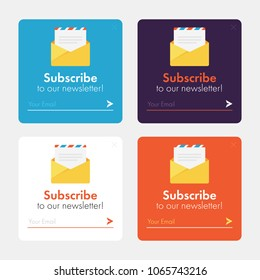 Subscribe Now For Our Newsletter (Flat Style Vector Illustration UI UX Design) with Text Box and Subscribe Button Template and mail envelope with the message.