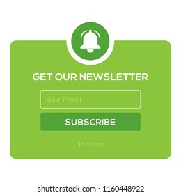 Subscribe Now For Our Newsletter (Flat Style Vector Illustration UI UX Design) with Text Box and Subscribe Button Template. Envelope and bell notification icons.