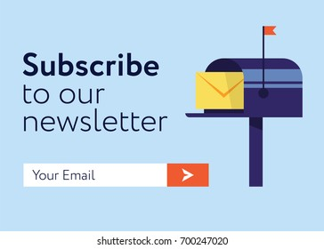 Subscribe Now For Our Newsletter (Flat Style Vector Illustration UI UX Design) with Text Box and Subscribe Button Template