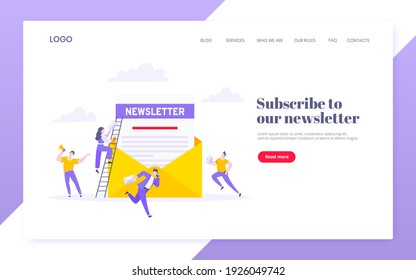 Subscribe now to our newsletter vector illustration with tiny people working with envelope and newsletter. Email news subscription or mail marketing business flat style design landing page concept.