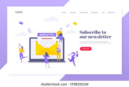 Subscribe now to our newsletter vector illustration with tiny people working with envelope and newsletter.