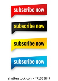 Subscribe now web button collection isolated on white