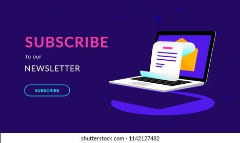 Subscribe to our newsletter flat vector neon illustration for ui ux web design with text and button. Isometric laptop with newsletter in open envelope on violet background and shadow under notebook