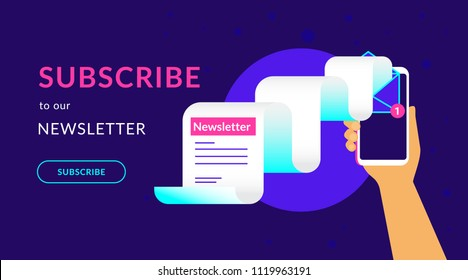 Subscribe to our weekly newsletter flat vector neon illustration for ui ux web design with text and button. Human hand holds smartphone with newsletter flying out the screen on violet background