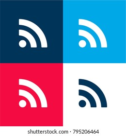 Subscribe rss button four color material and minimal icon logo set in red and blue