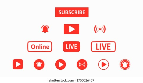Subscribe set button. A set of red buttons for a video blog, stream, or channel drawn in a flat style. Social media network concept. Vector illustration