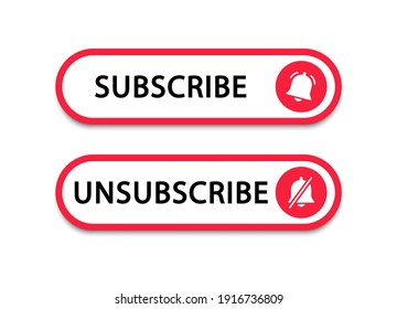 Subscribe and unsubscribe button with bell. Subscribe to video channel. Web button for promotion and marketing. Vector illustration.