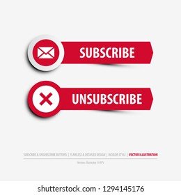 subscribe and unsubscribe buttons containing: two differently designed isolated web buttons, subscribe and unsubscribe symbols, flat, minimal, material design style, eps10 vector illustration
