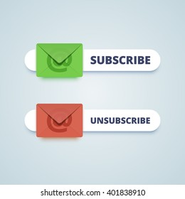 Subscribe and unsubscribe buttons with envelope sign. Vector illustration in flat style.