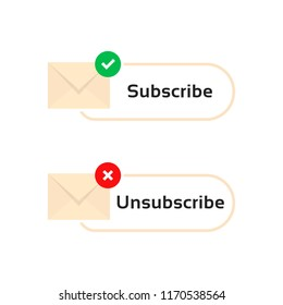 subscribe and unsubscribe letters. concept of you've got mail with registration and mail receive. simple flat cartoon style trend modern sms logo graphic art user interface design isolated on white