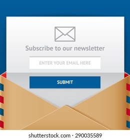 Subscribe web form, vector flat style illulstration