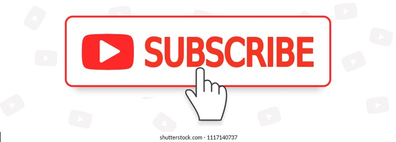 SUBSCRIBE YouTube channel, button color and hand cursor with shadow. Vector. EPS 10