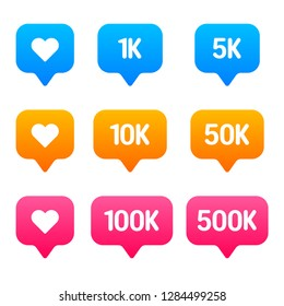 Subscribers or followers and like 9 icons set, vector, 1K, 5K, 10K, 50K, 100K, 500K, blue, orange, pink gradient flat vector