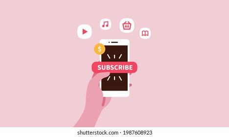 Subscription Service vector illustration pink
