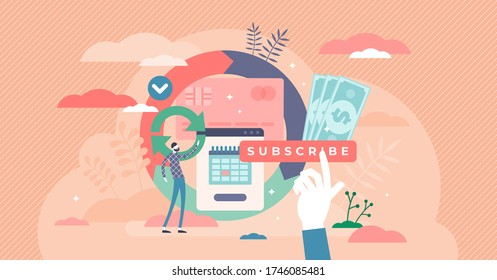 Subscription vector illustration. Monthly order service or goods with automatic payment flat tiny person concept. Business model for premium applications, newsletters, paid content as repeated process