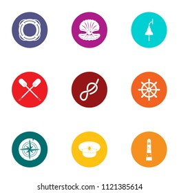 Subsea icons set. Flat set of 9 subsea vector icons for web isolated on white background