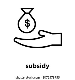 subsidy icon isolated on white background, vector illustration, subsidy logo concept