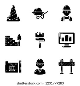 Substitute icons set. Simple set of 9 substitute vector icons for web isolated on white background