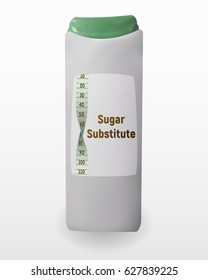 Substitute sugar with plastic wrap. Vector illustration of sweetener. Aspartame for tea and coffee. Tablets of Sucralose.